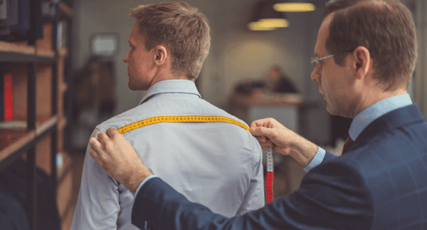 Measuring the back of a shirt, blog by tapered menswear outlining cost of tailoring a shirt