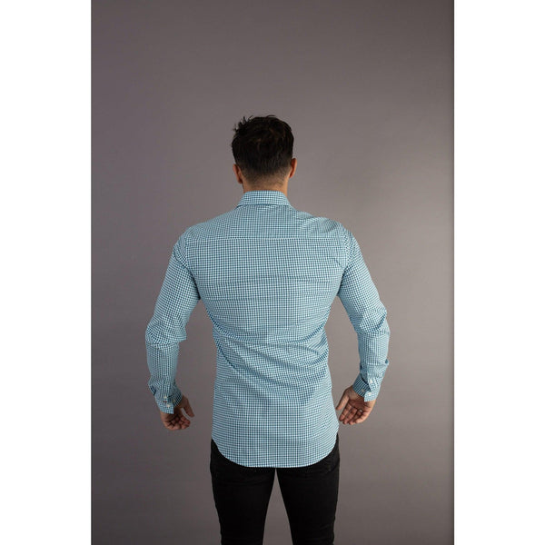 Check Tapered Fit Shirt Back. A Proportionally Fitted and Comfortable Muscle Fit Shirt. Ideal for bodybuilders