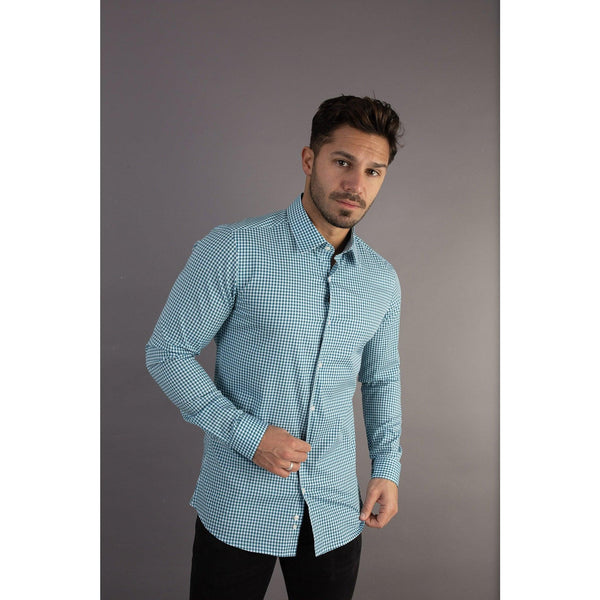 Check Tapered Fit Shirt For Men. A Proportionally Fitted and Comfortable Muscle Fit Shirt. Ideal for bodybuilders