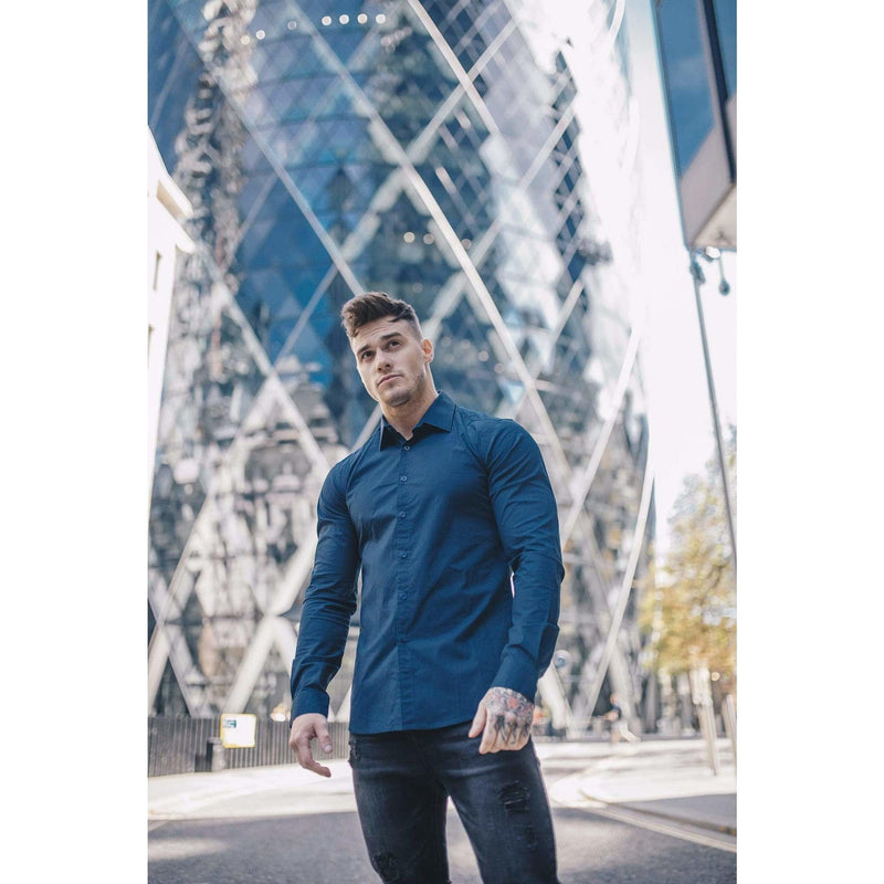 Owen Harrison Navy Blue Tapered Fit Shirt. A Proportionally Fitted and Comfortable Navy Muscle Fit Shirt.
