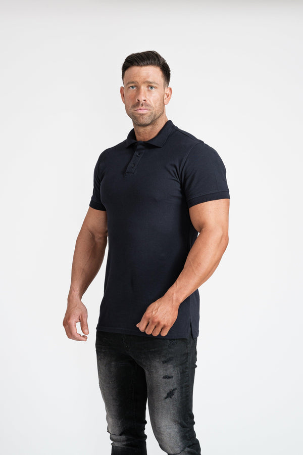 Short Sleeve Navy Tapered Fit Polo Shirt. A Proportionally Fitted and Tapered Fit Polo. Ideal for muscular guys.