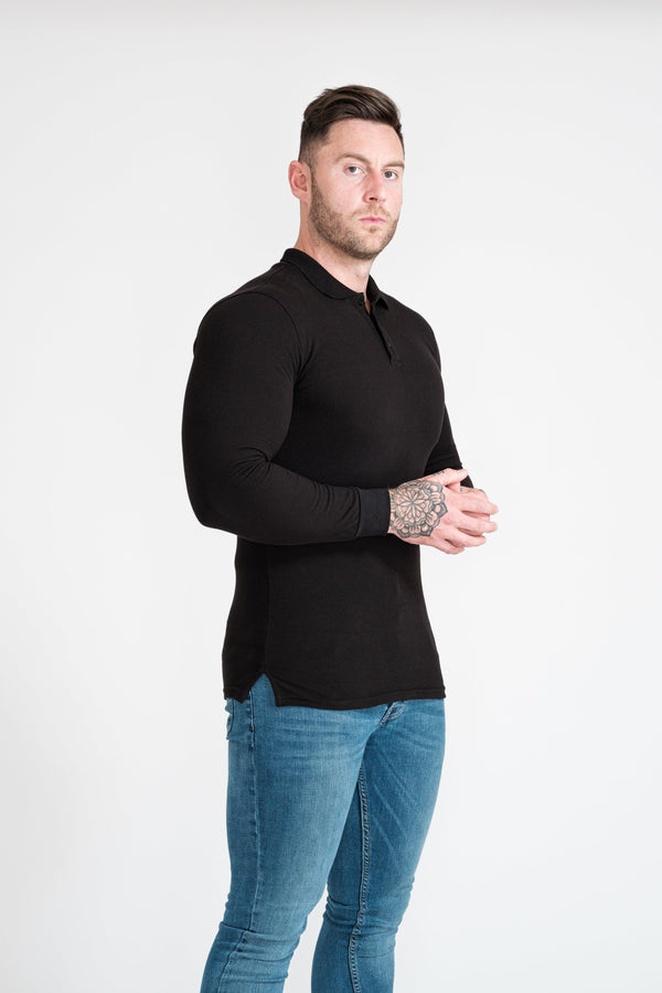 Mens Black Muscle Fit Polo Shirt. A Proportionally Fitted and Tight Polo Shirt. Ideal for bodybuilders.