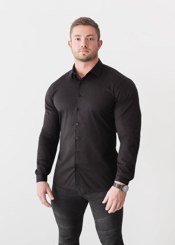 Black Tapered Fit Shirt For Men. A Proportionally Fitted and Comfortable Muscle Fit Shirt. Ideal for bodybuilders.
