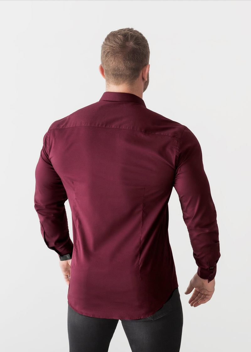Burgundy Tapered Fit Shirt back. A Proportionally Fitted and Comfortable Muscle Fit Shirt. Ideal for bodybuilders
