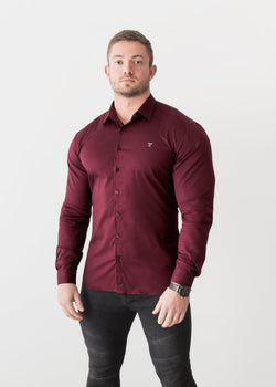 Burgundy Tapered Fit Shirt For Men. A Proportionally Fitted and Comfortable Muscle Fit Shirt. The Best Shirts For a Muscular Build.