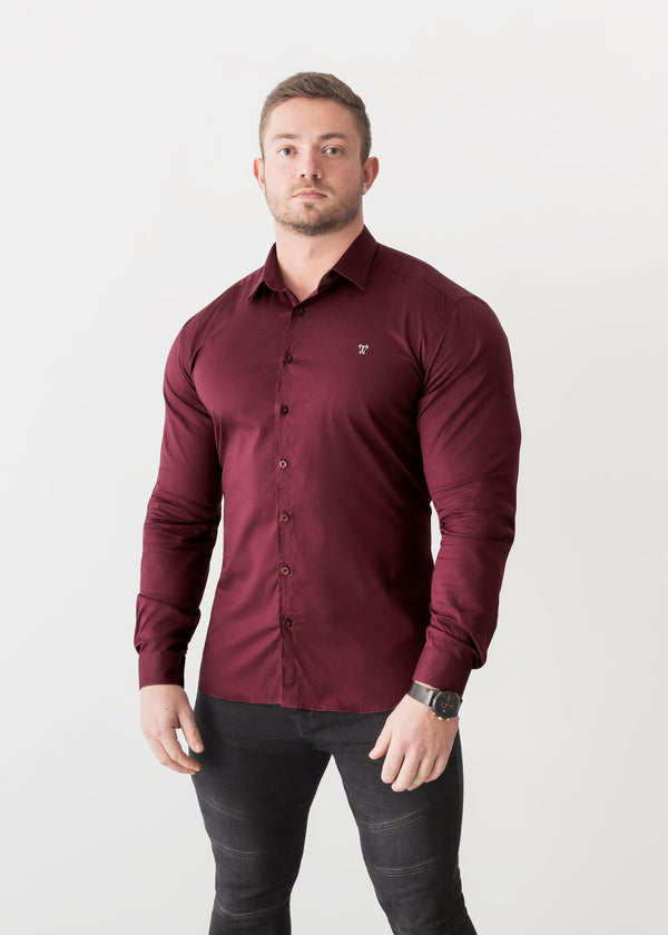 Burgundy Tapered Fit Shirt For Men. A Proportionally Fitted and Comfortable Muscle Fit Shirt. Ideal for bodybuilders