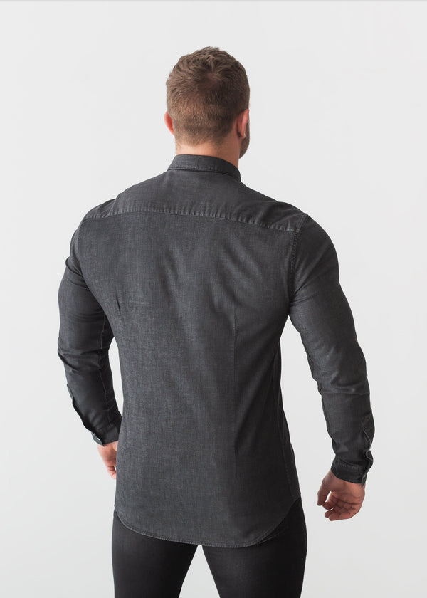 Black Denim Tapered Fit Shirt Back. A Proportionally Fitted and Comfortable Muscle Fit Shirt. Ideal for bodybuilders.