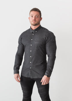 Black Denim Tapered Fit Shirt For Men. A Proportionally Fitted and Denim Muscle Fit Shirt. Ideal for bodybuilders.