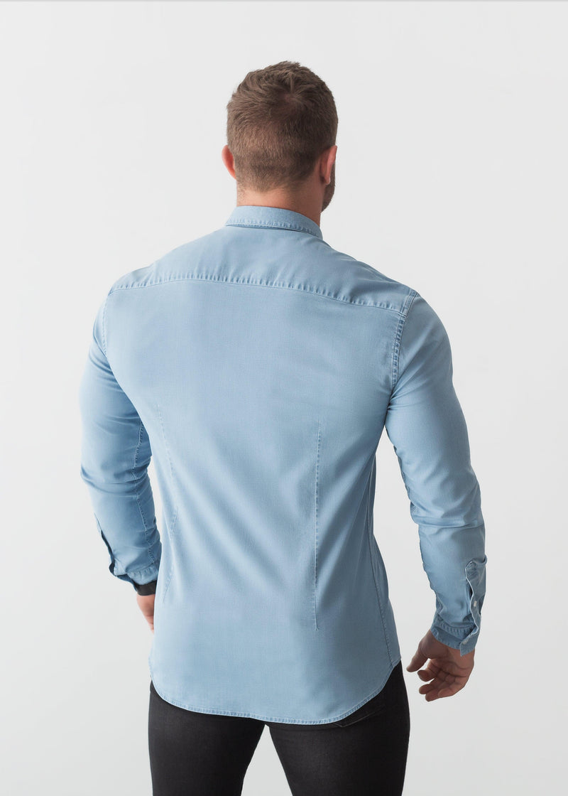 Light Blue Denim Tapered Fit Shirt Back. A Proportionally Fitted and Denim Muscle Fit Shirt. Ideal for bodybuilders