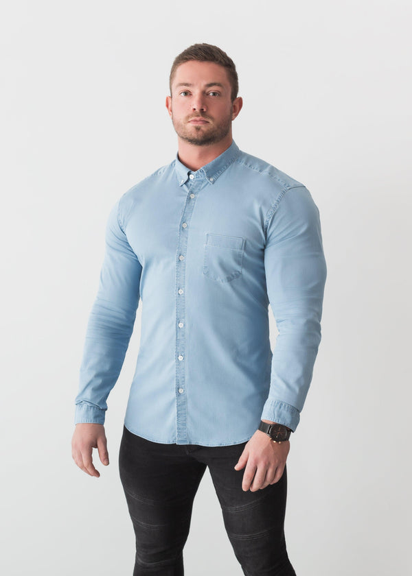 Light Blue Denim Tapered Fit Shirt. A Proportionally Fitted and Jean Muscle Fit Shirt. The Best Shirts For a Muscular Build