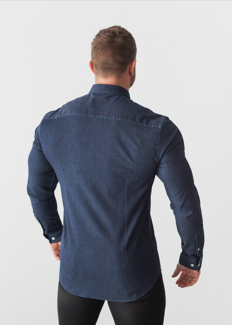 Dark Blue Denim Tapered Fit Shirt. A Proportionally Fitted and Comfortable Muscle Fit Shirt. Ideal for bodybuilders