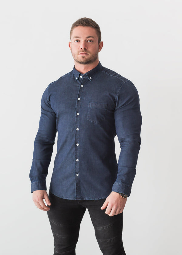 Navy Blue Denim Tapered Fit Shirt. A Proportionally Fitted and Jean Muscle Fit Shirt. The Best Shirts For a Muscular Build.