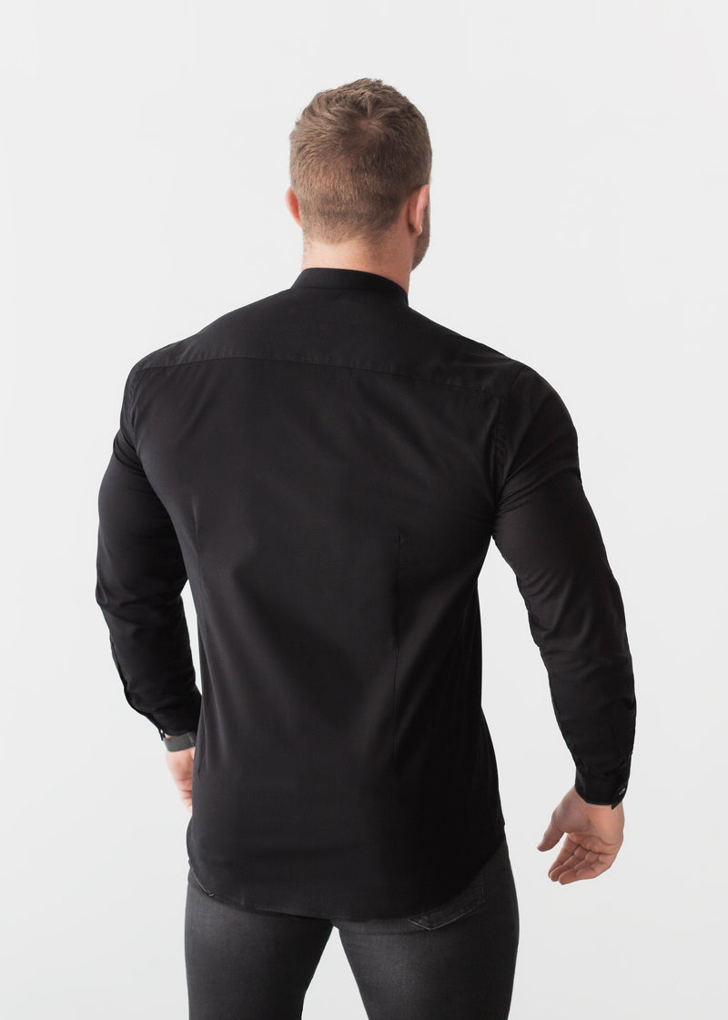 Grandad Collar Black Tapered Fit Shirt Back. A Proportionally Fitted and Comfortable Muscle Fit Shirt. Ideal for bodybuilders