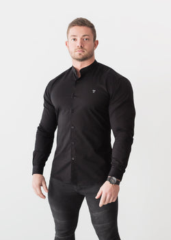 Grandad Collar Black Tapered Fit Shirt. A Proportionally Fitted and Comfortable Muscle Fit Shirt. The Best Shirts For a Muscular Build