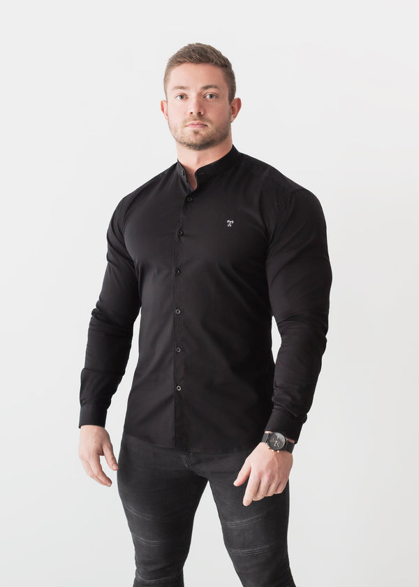 Grandad Collar Black Tapered Fit Shirt. A Proportionally Fitted and Comfortable Muscle Fit Shirt. Ideal for bodybuilders