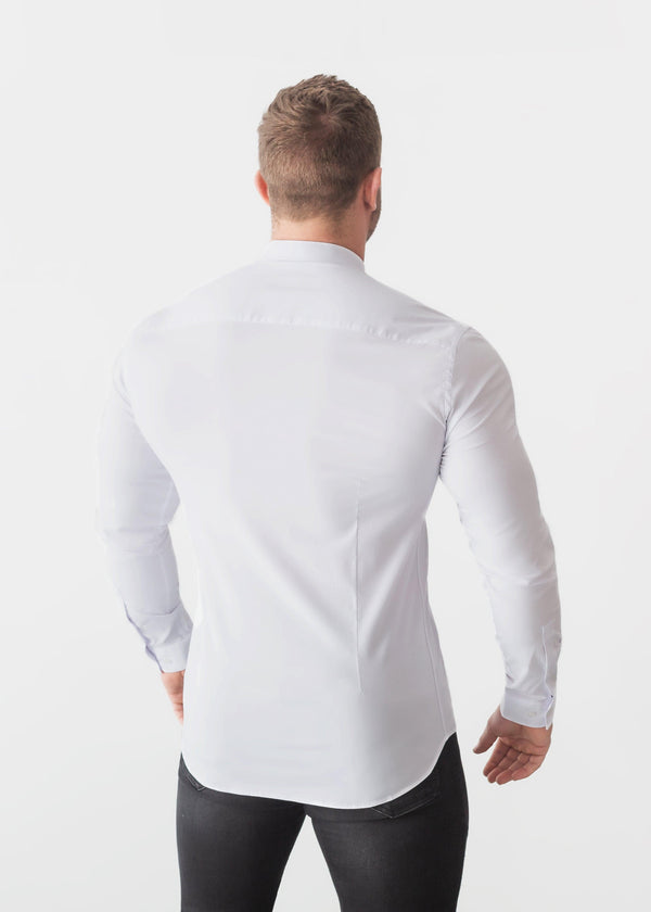 Grandad Collar White Tapered Fit Shirt Back. A Proportionally Fitted and Comfortable Muscle Fit Shirt. Ideal for bodybuilders