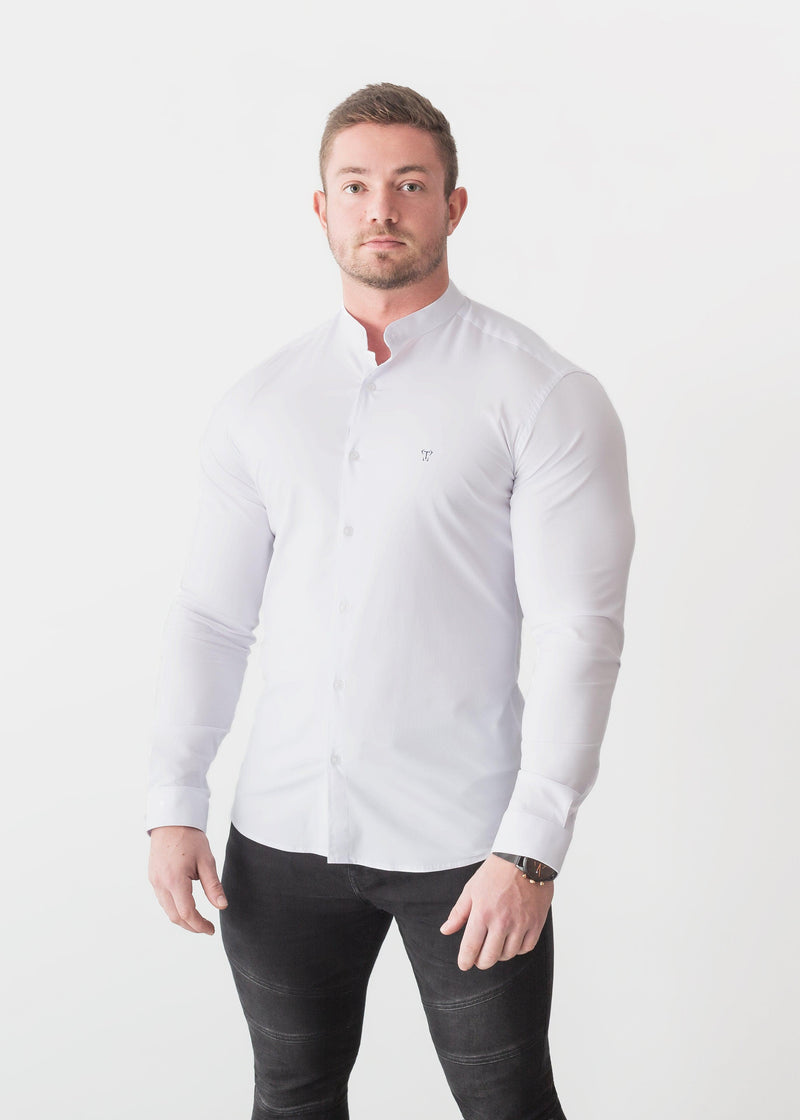 Grandad Collar White Tapered Fit Shirt. A Proportionally Fitted and Comfortable Muscle Fit Shirt. Ideal for bodybuilders