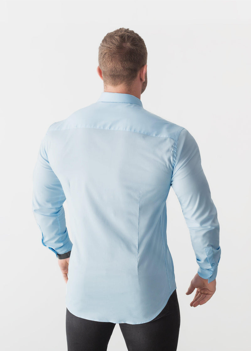 Sky Blue Tapered Fit Shirt. A Proportionally Fitted and Comfortable Muscle Fit Shirt. Ideal for bodybuilders