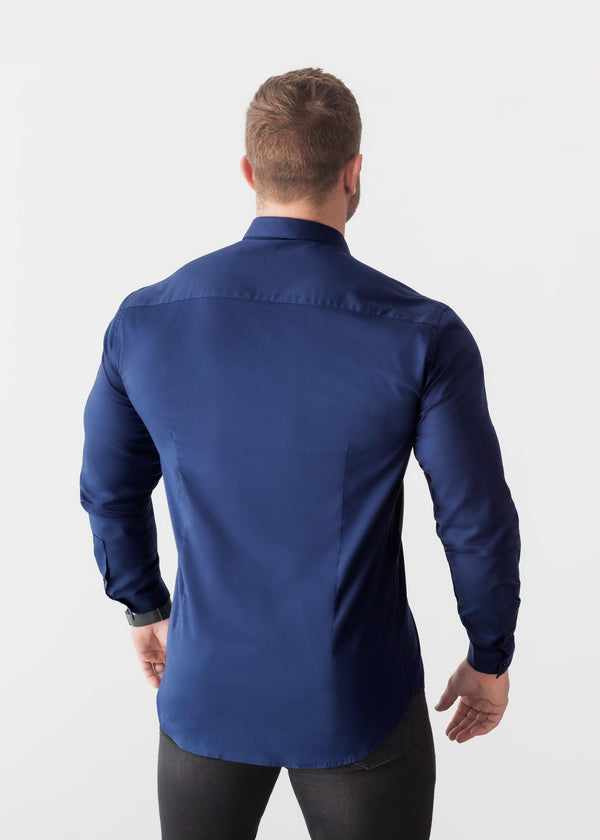Navy Blue Tapered Fit Shirt. A Proportionally Fitted and Comfortable Navy Muscle Fit Shirt. Ideal for bodybuilders