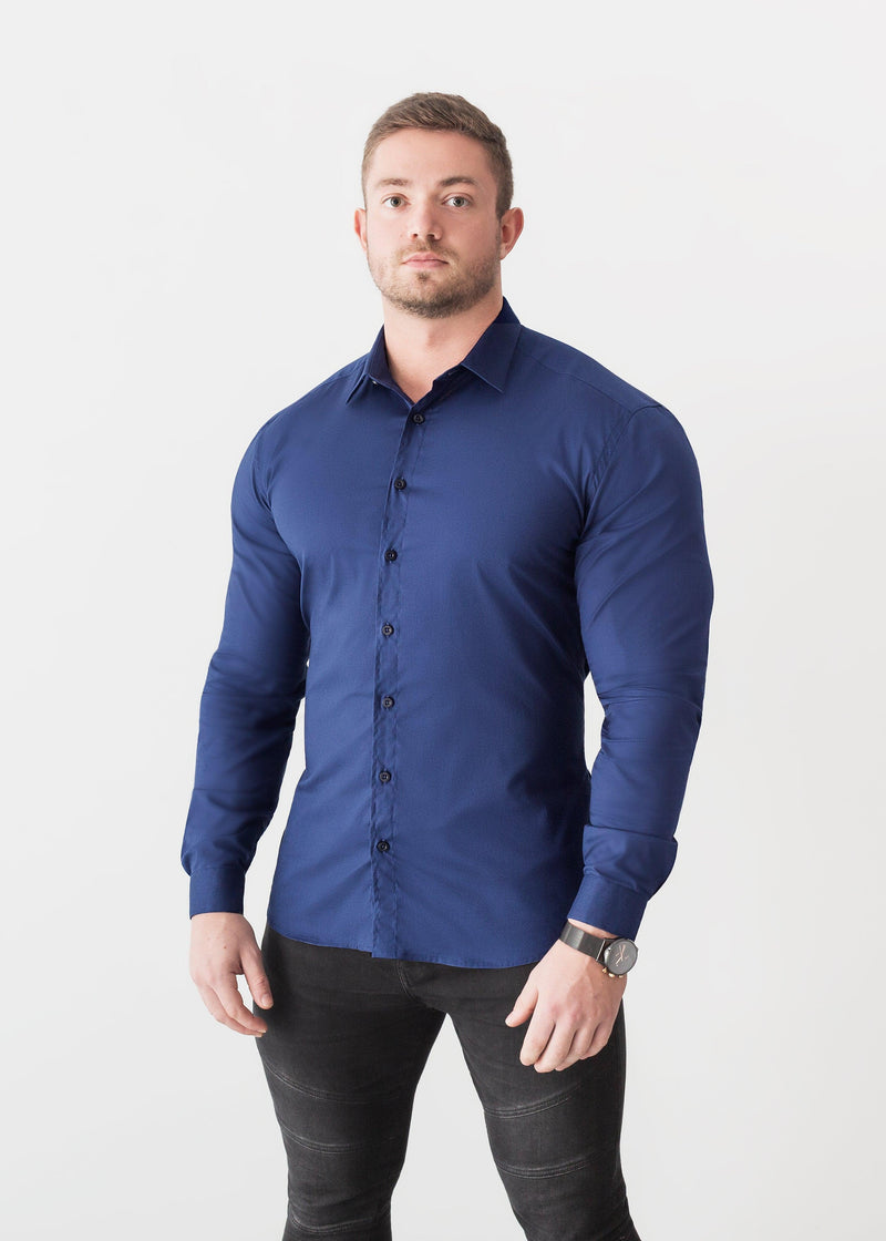 Navy Blue Tapered Fit Shirt. A Proportionally Fitted and Comfortable Muscle Fit Shirt. The Best Shirts For a Muscular Build.