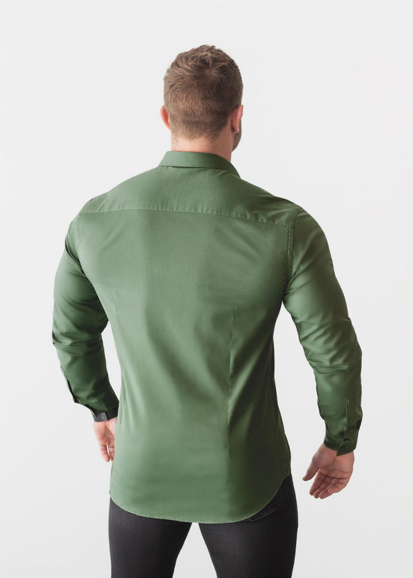 Olive Green Tapered Fit Shirt For Men Back. A Proportionally Fitted and Olive Muscle Fit Shirt. Ideal for bodybuilders.