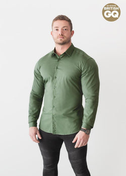 Olive Green Tapered Fit Shirt For Men. A Proportionally Fitted and Olive Muscle Fit Shirt. The Best Shirts For a Muscular Build.