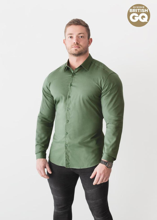 Olive Green Tapered Fit Shirt For Men. A Proportionally Fitted and Olive Muscle Fit Shirt. Ideal for bodybuilders.