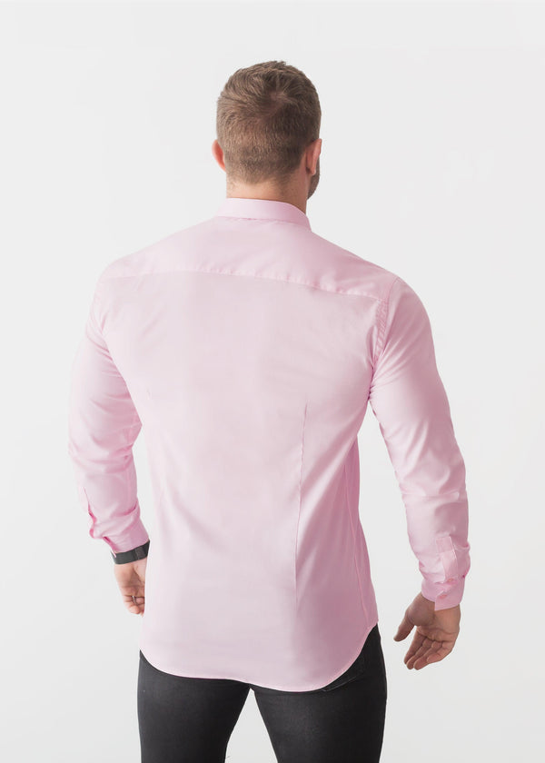 Pink Tapered Fit Shirt For Men Back. A Proportionally Fitted and Pink Muscle Fit Shirt. Ideal for bodybuilders.