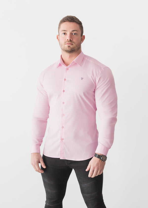 Pink Tapered Fit Shirt For Men. A Proportionally Fitted and Pink Muscle Fit Shirt. Ideal for bodybuilders.