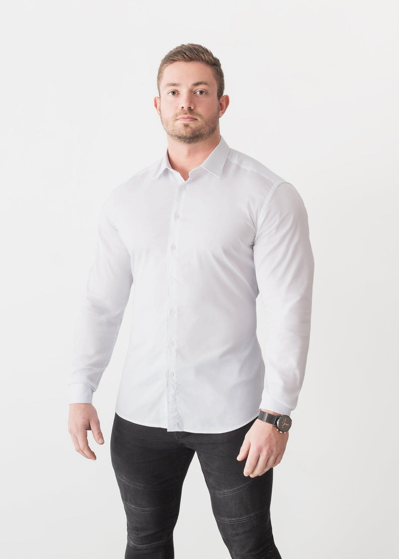 White Tapered Fit Shirt For Men. A Proportionally Fitted and white Muscle Fit Shirt. Ideal for bodybuilders.