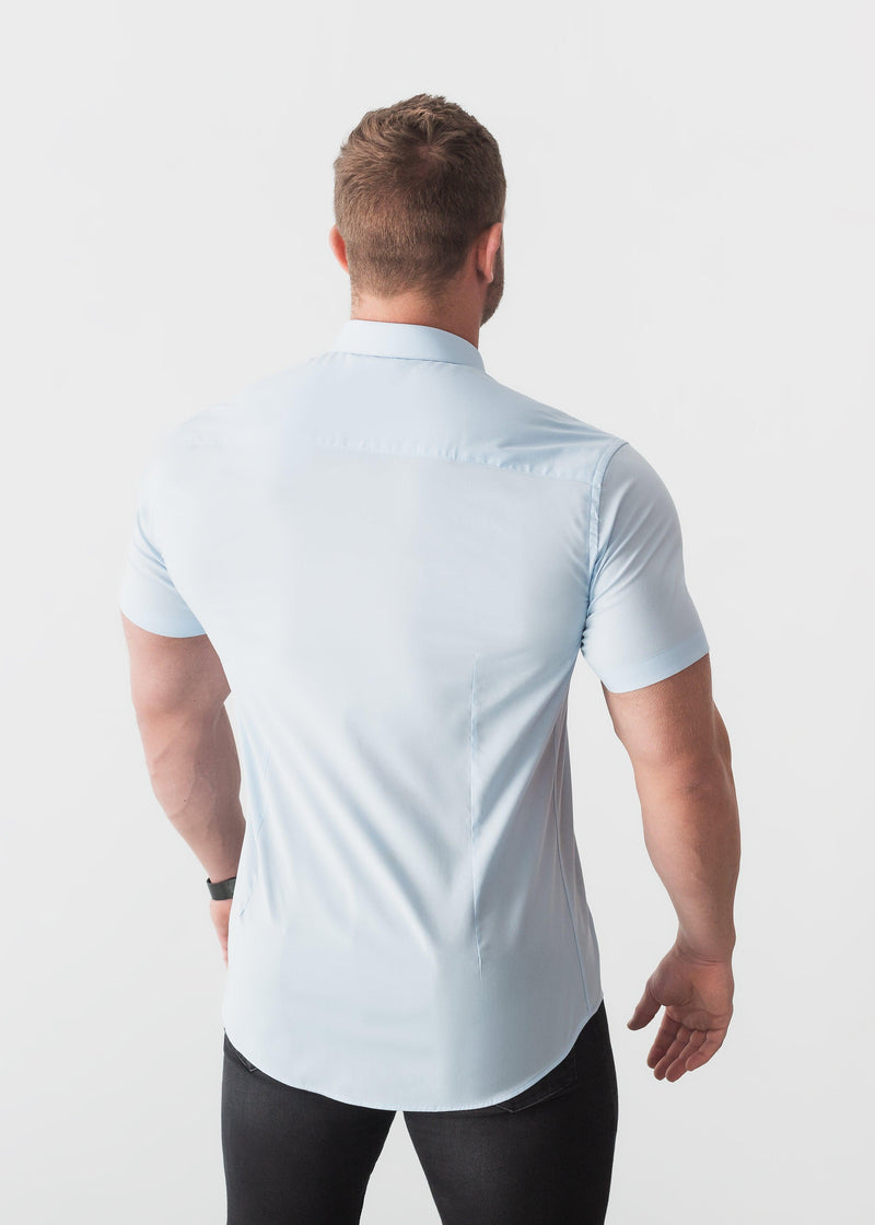 Blue Short Sleeve Tapered Fit Shirt Back. A Proportionally Fitted and Comfortable Short Sleeve Muscle Fit Shirt.