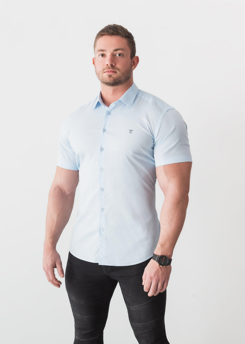 Blue Short Sleeve Tapered Fit Shirt For Men. A Proportionally Fitted and Comfortable Short Sleeve Muscle Fit Shirt.