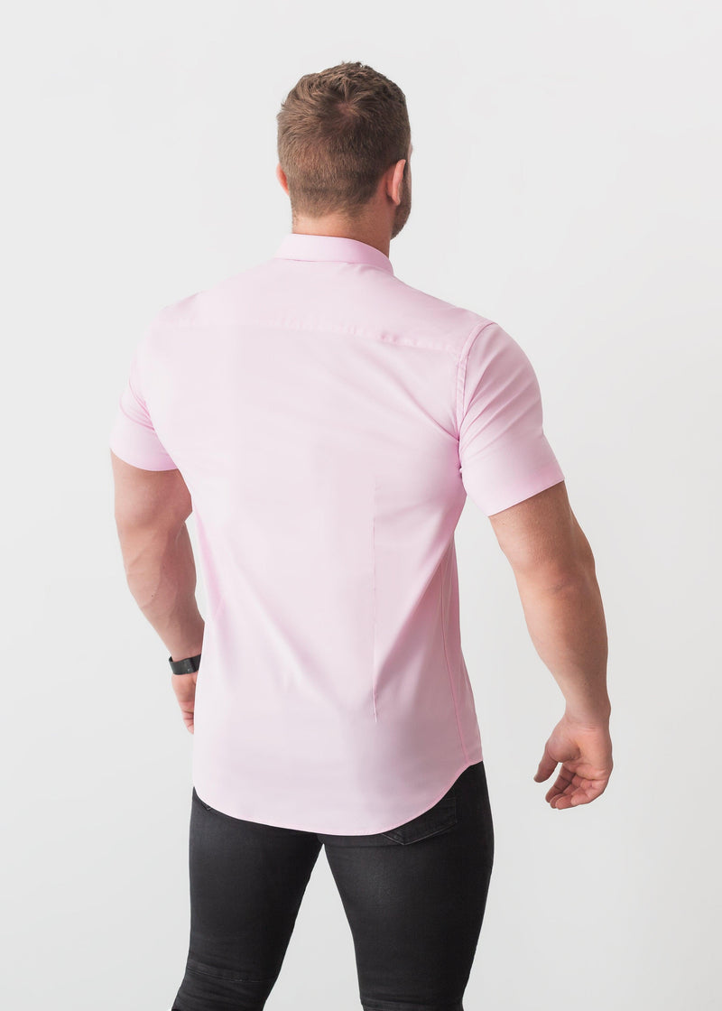 Pink Short Sleeve Tapered Fit Shirt Back. A Proportionally Fitted and Comfortable Short Sleeve Muscle Fit Shirt.