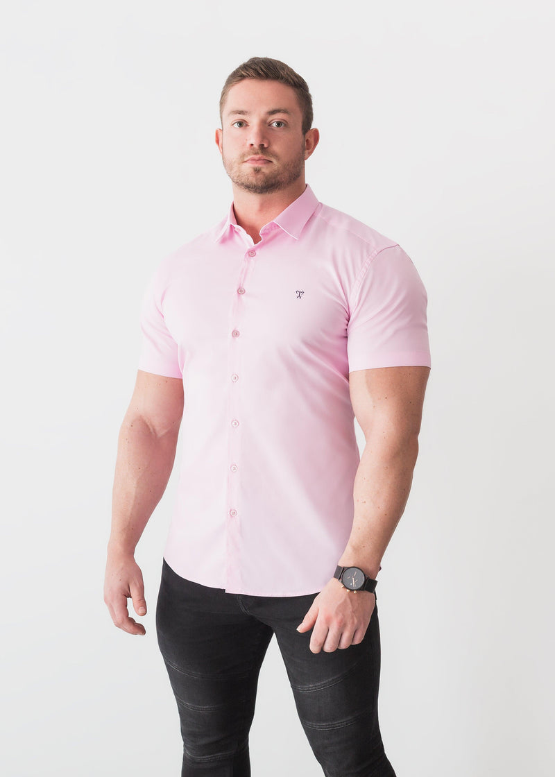 Pink Short Sleeve Tapered Fit Shirt For Men. A Proportionally Fitted and Comfortable Short Sleeve Muscle Fit Shirt.