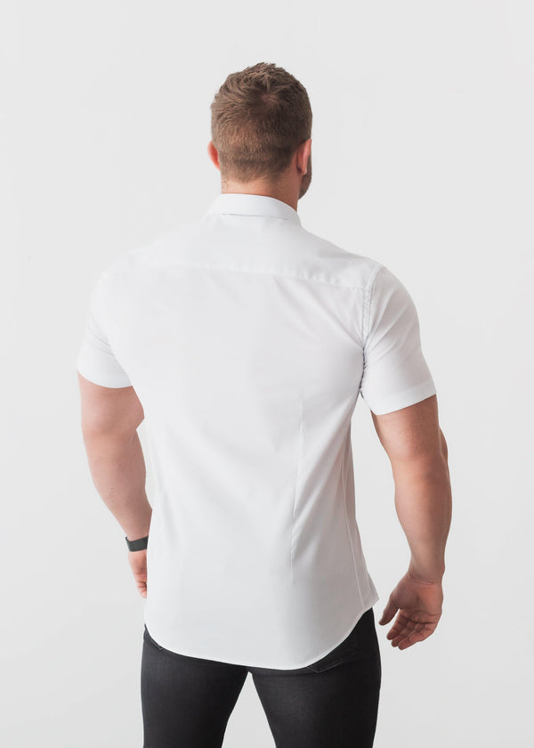 White Short Sleeve Tapered Fit Shirt Back. A Proportionally Fitted and Comfortable Short Sleeve Muscle Fit Shirt.