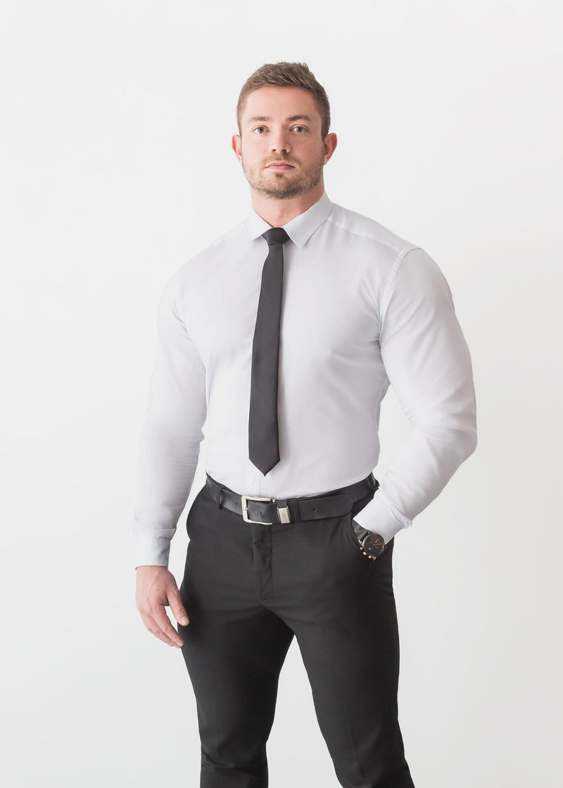 White Tapered Fit Shirt For Men. A Proportionally Fitted and white Muscle Fit formal Shirt. Ideal for bodybuilders.