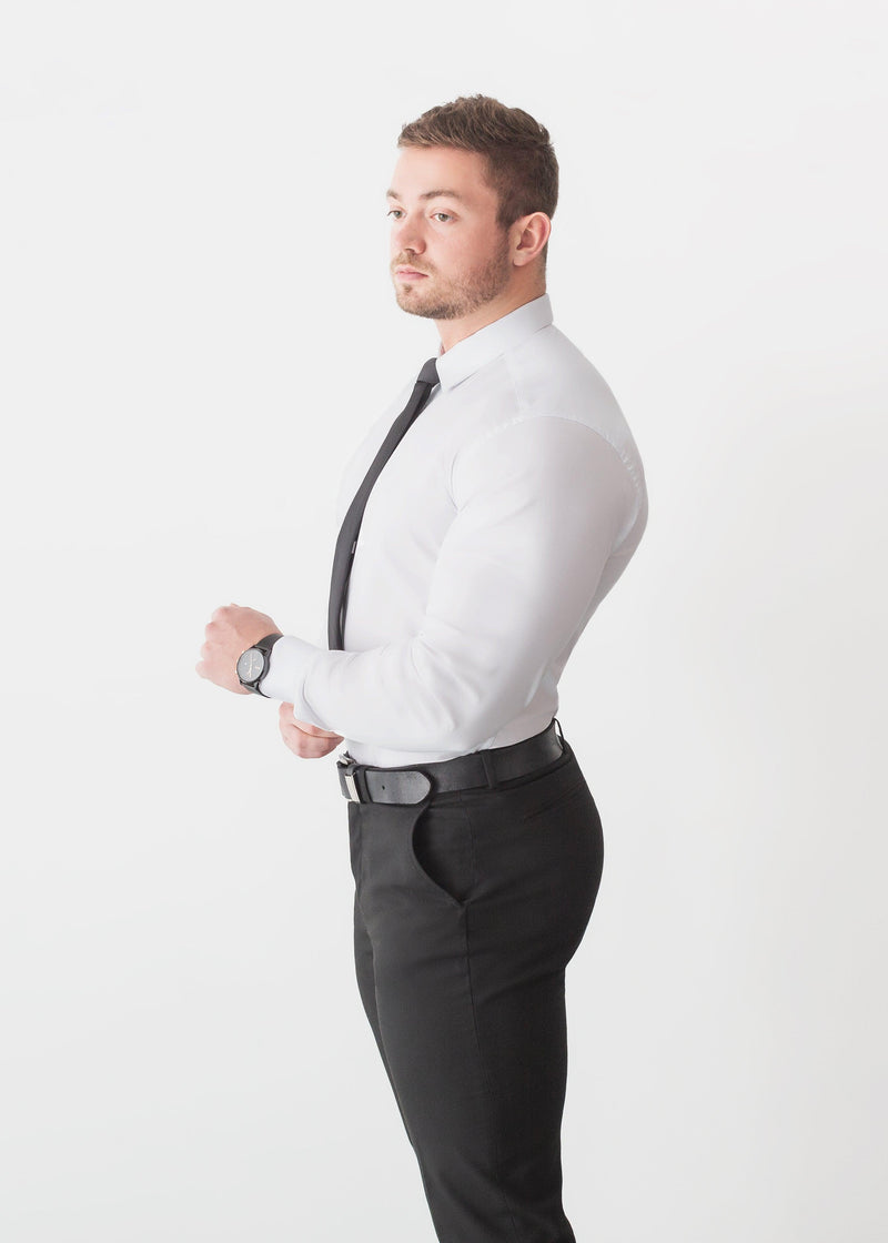 White Tapered Fit Shirt For Men. A Proportionally Fitted and white Muscle Fit Shirt with tie. Ideal for bodybuilders.