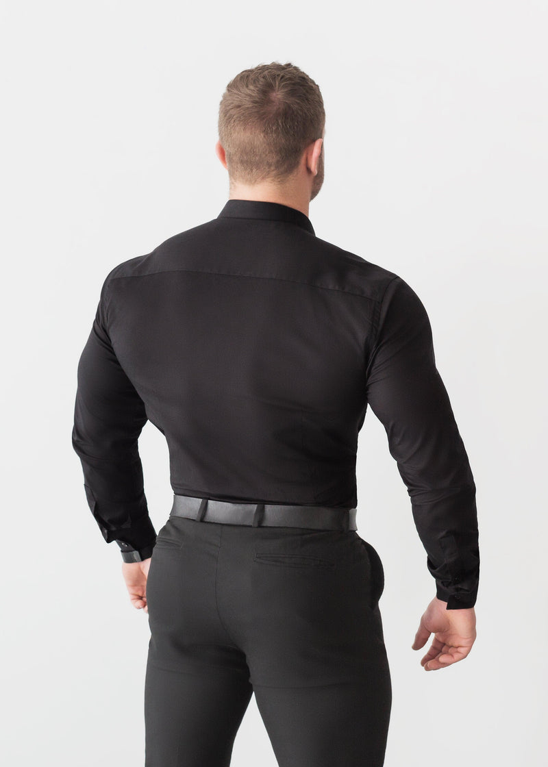 Black Tapered Fit Shirt Back. A Proportionally Fitted and Comfortable Muscle Fit Shirt. Ideal for bodybuilders.