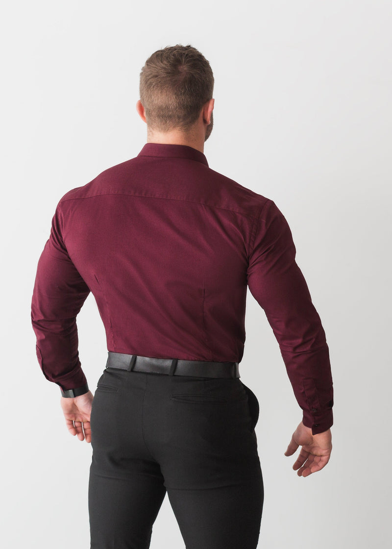 Burgundy V Tapered Fit Shirt. A Proportionally Fitted and Comfortable Muscle Fit Shirt. Ideal for bodybuilders