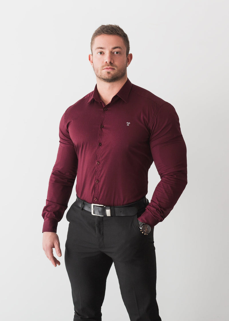 Burgundy Formal Tapered Fit Shirt For Men. A Proportionally Fitted and Comfortable Muscle Fit Shirt. Ideal for bodybuilders