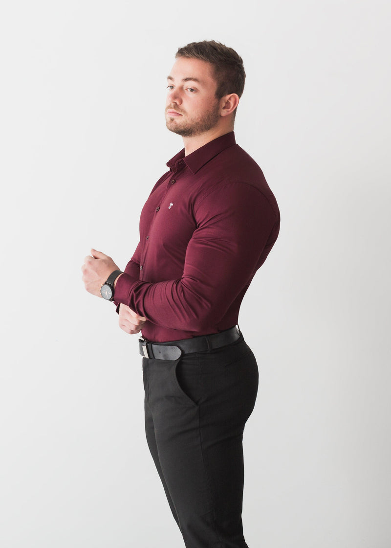Burgundy Tapered Fit Shirt Formal. A Proportionally Fitted and Comfortable Muscle Fit Shirt. Ideal for bodybuilders
