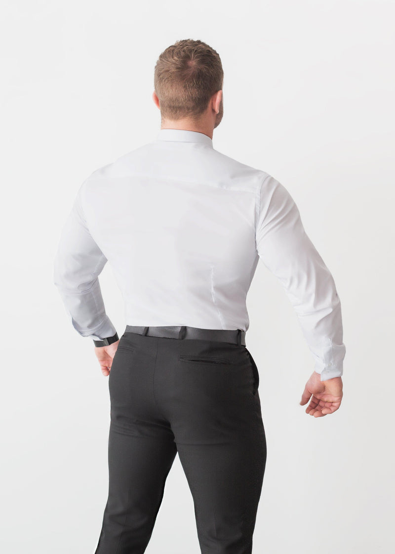 White Tapered Fit Shirt For Men Back. A Proportionally Fitted and white Muscle Fit Shirt. Ideal for bodybuilders.