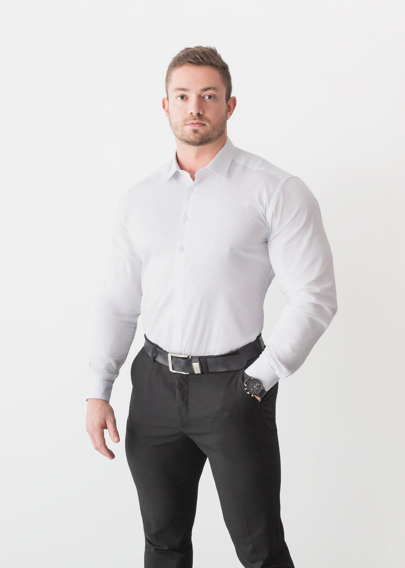 White Tapered Fit Shirt For Men. A Proportionally Fitted and white Athletic Fit Shirt. Ideal for bodybuilders.