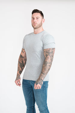 Grey Tapered Fit T-Shirt For Men. A Proportionally Fitted and Muscle Fit T-Shirt. Ideal for bodybuilders.