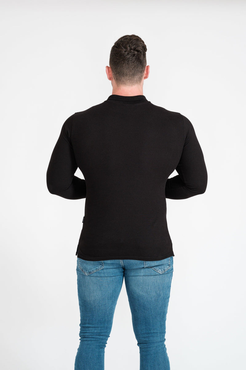 Mens Black Tapered Fit Polo Shirt. A Proportionally Fitted and Muscle Fit Polo T-Shirt. Ideal for bodybuilders.