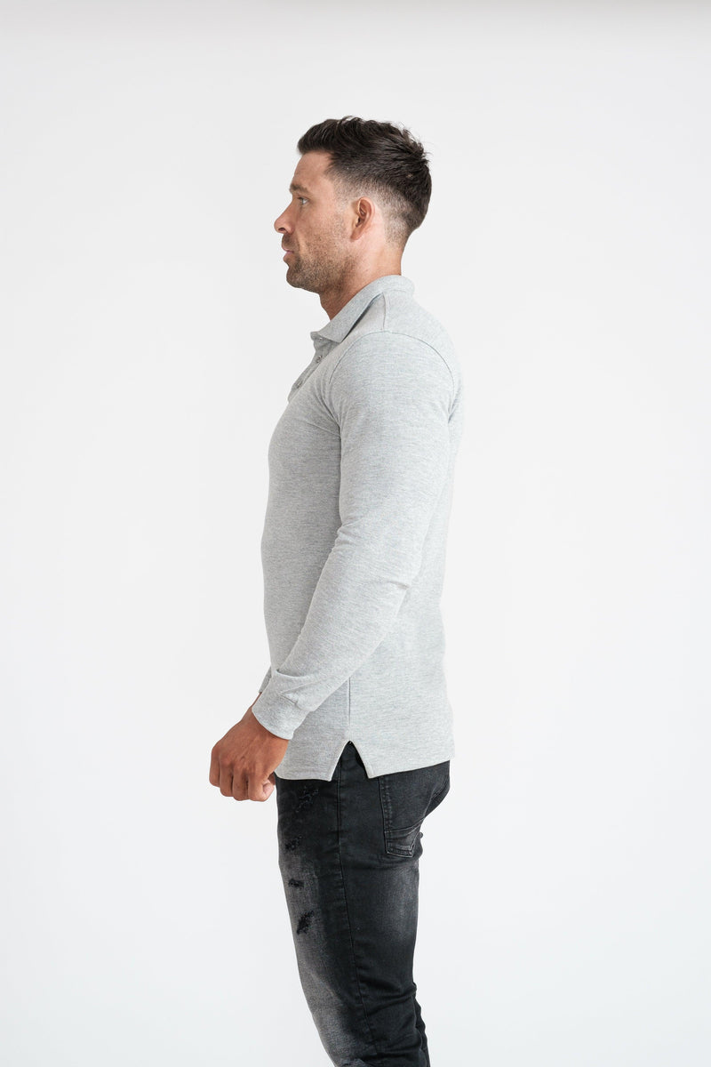 Mens Grey Muscle Fit Polo Shirt. A Proportionally Fitted and Muscle Fit Polo. Ideal for athletes.