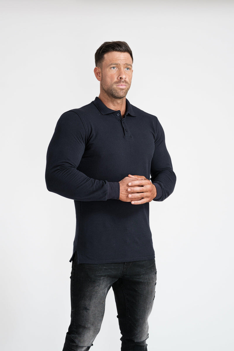 Mens Long Sleeve Navy Muscle Fit Polo Shirt. A Proportionally Fitted and Muscle Fit Polo. Ideal for bodybuilders.