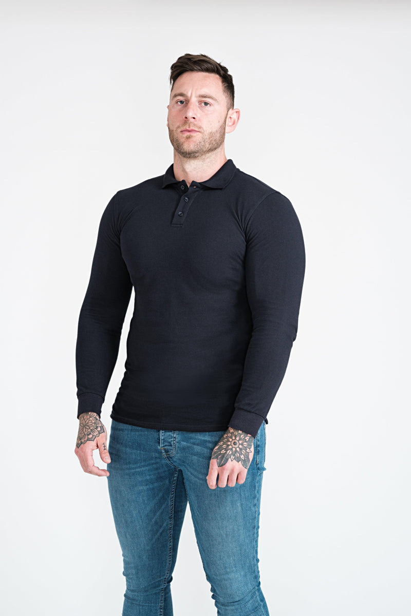 Mens Navy Tapered Fit Polo Shirt. A Proportionally Fitted and Muscle Fit Polo. Ideal for bodybuilders.