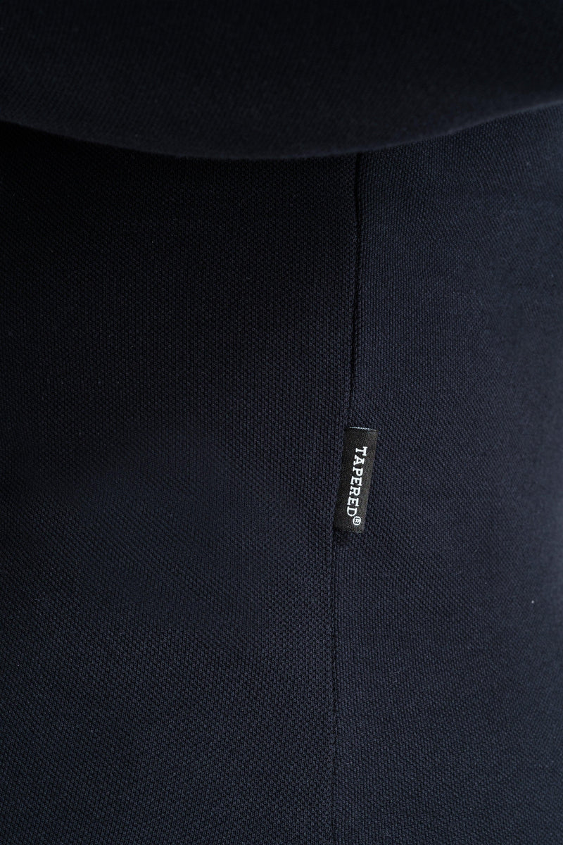Long Sleeve Navy Tapered Fit Polo Shirt