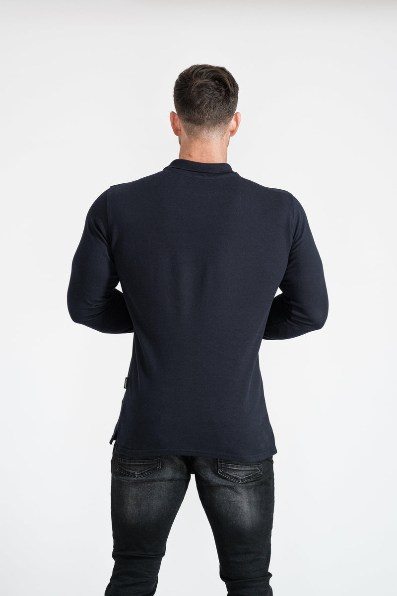 Long Sleeve Muscle Fit Navy Polo Shirt. A Proportionally Fitted and Muscle Fit Polo. Ideal for bodybuilders.